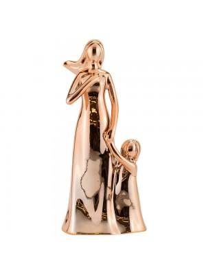Mãe Criança Porcelana Rosê Modelo C 23cm