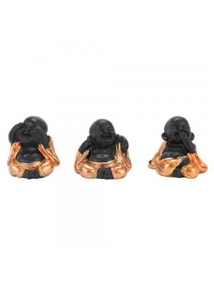 Jogo 3 Monges Negros Não Falo Não Ouço Não Vejo 4.5cm