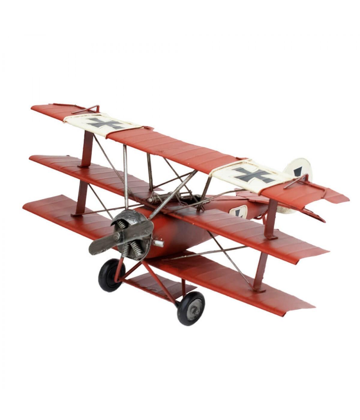 Avião Vermelho Asas Tripla Hélice 15.5x30.5x35cm Estilo Retrô - Vintage