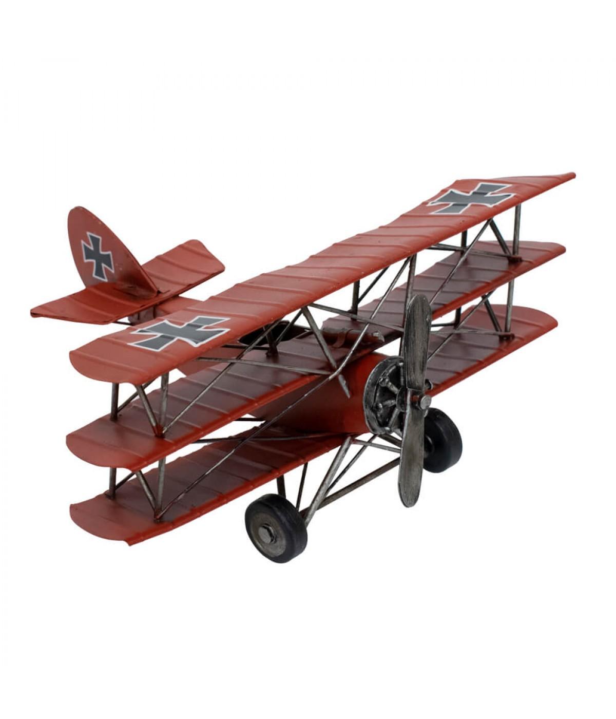 Avião Vermelho Asas Tripla Hélice 12.5x25.5x28cm Estilo Retrô - Vintage