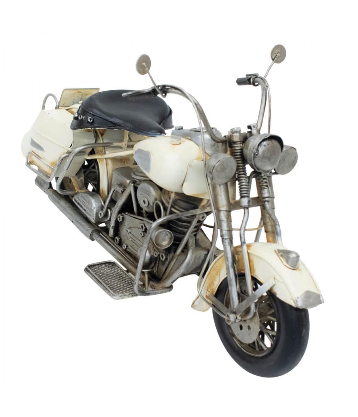 Motocicleta Branca 18x35.5x11.5cm Estilo Retrô - Vintage