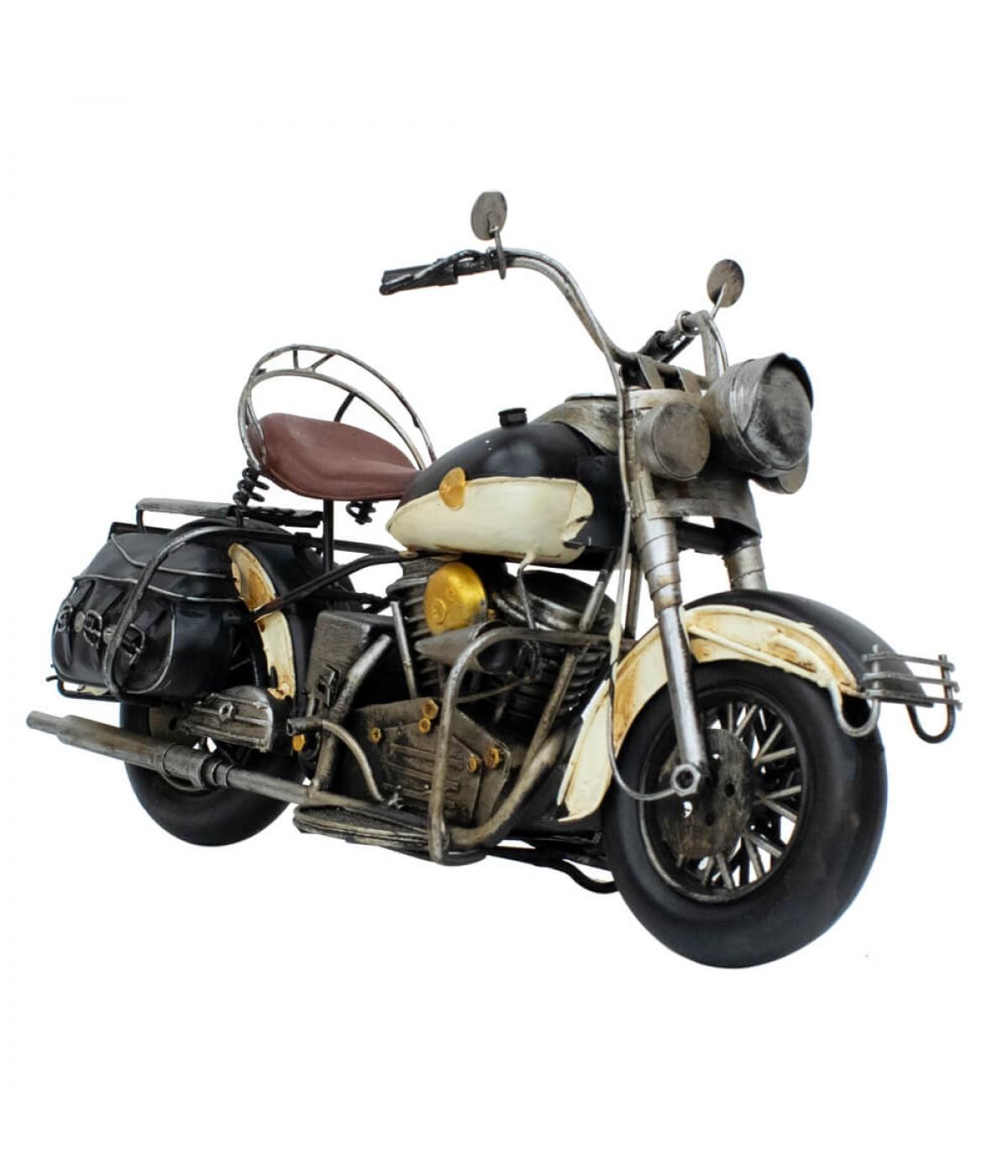 Motocicleta Branca 18x35x12cm Estilo Retrô - Vintage