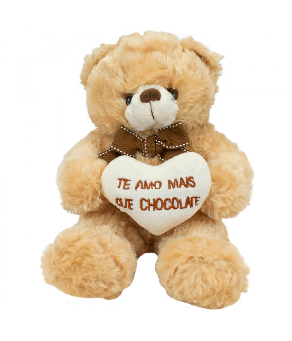 Urso Sentado Te Amo Mais Que Chocolate 21cm - Pelúcia