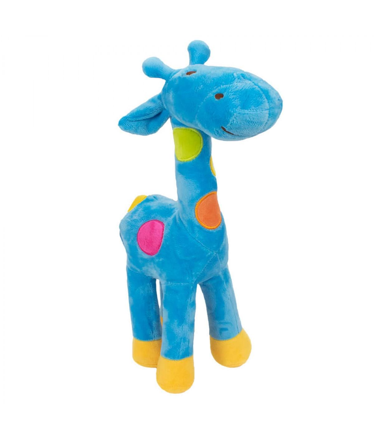Girafa Azul Com Pintas Coloridas 34cm - Pelúcia