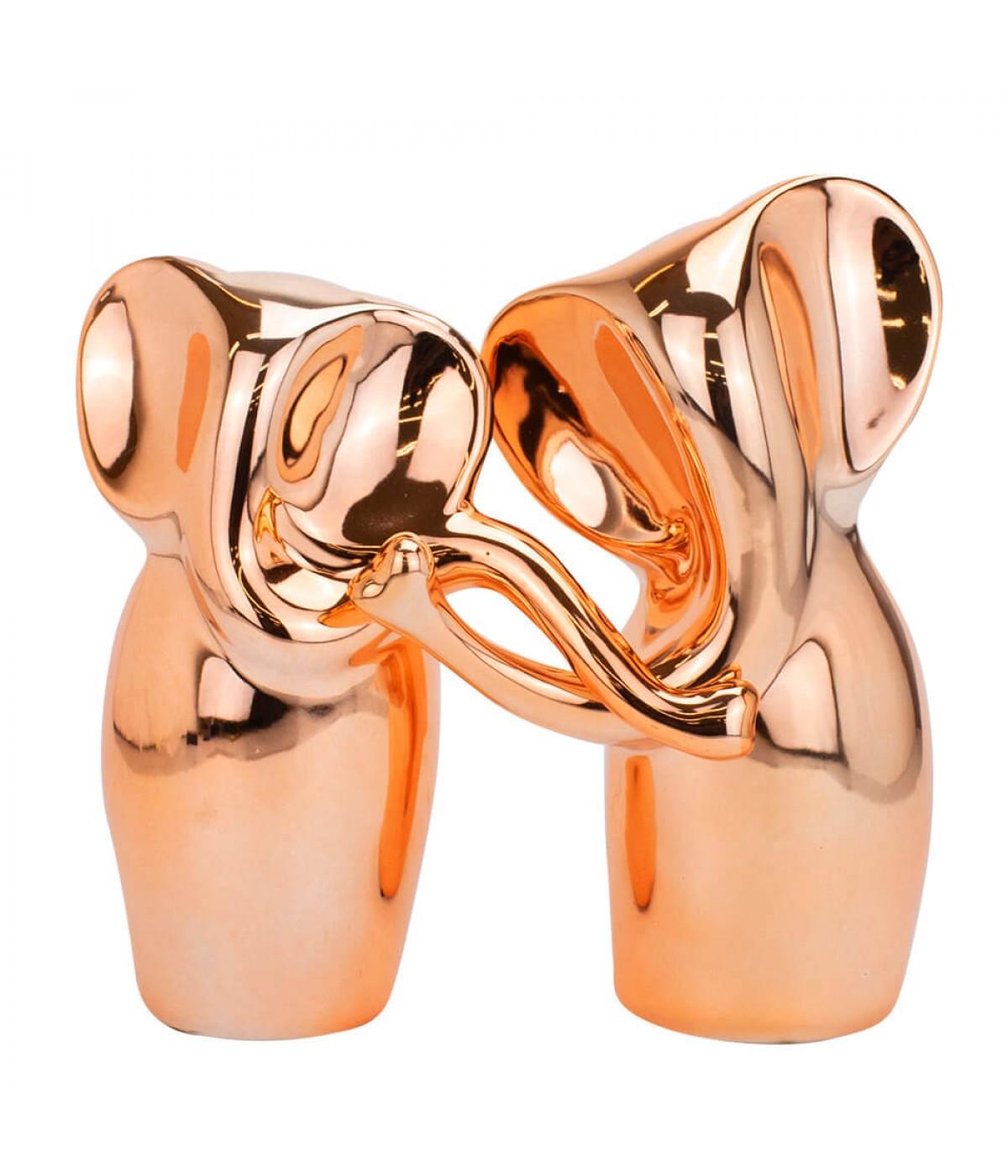 Jogo 2 Elefantes Rosê Trompas Entrelaçadas Cerâmica 19cm e 17cm