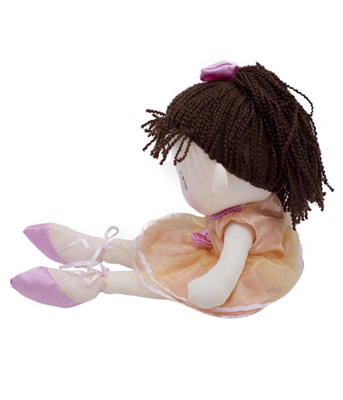 3a0c7bbe65 Boneca Bailarina Cabelo Ponytail Marrom Escuro 35cm