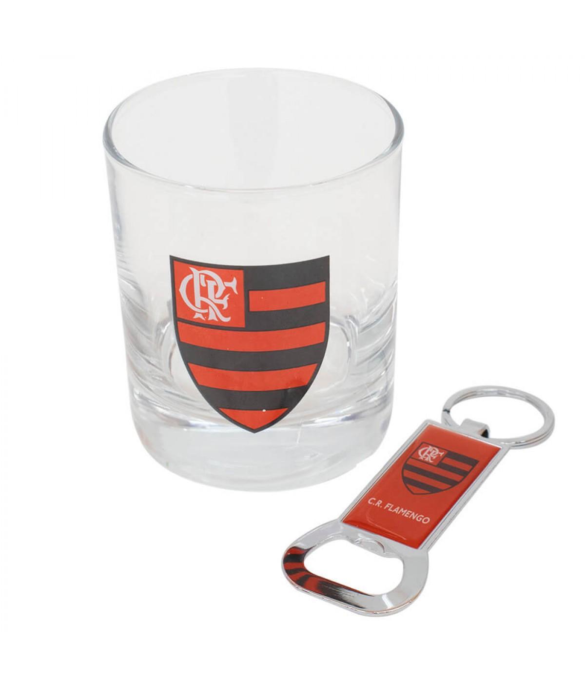 Copo Vidro Chaveiro Abridor Garrafas 250ml - Flamengo