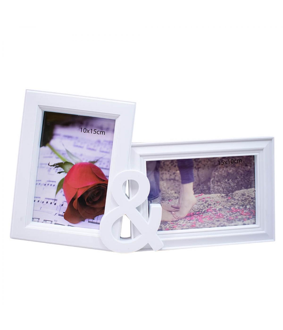 Porta Retrato Branco & 2 Fotos 10x15cm