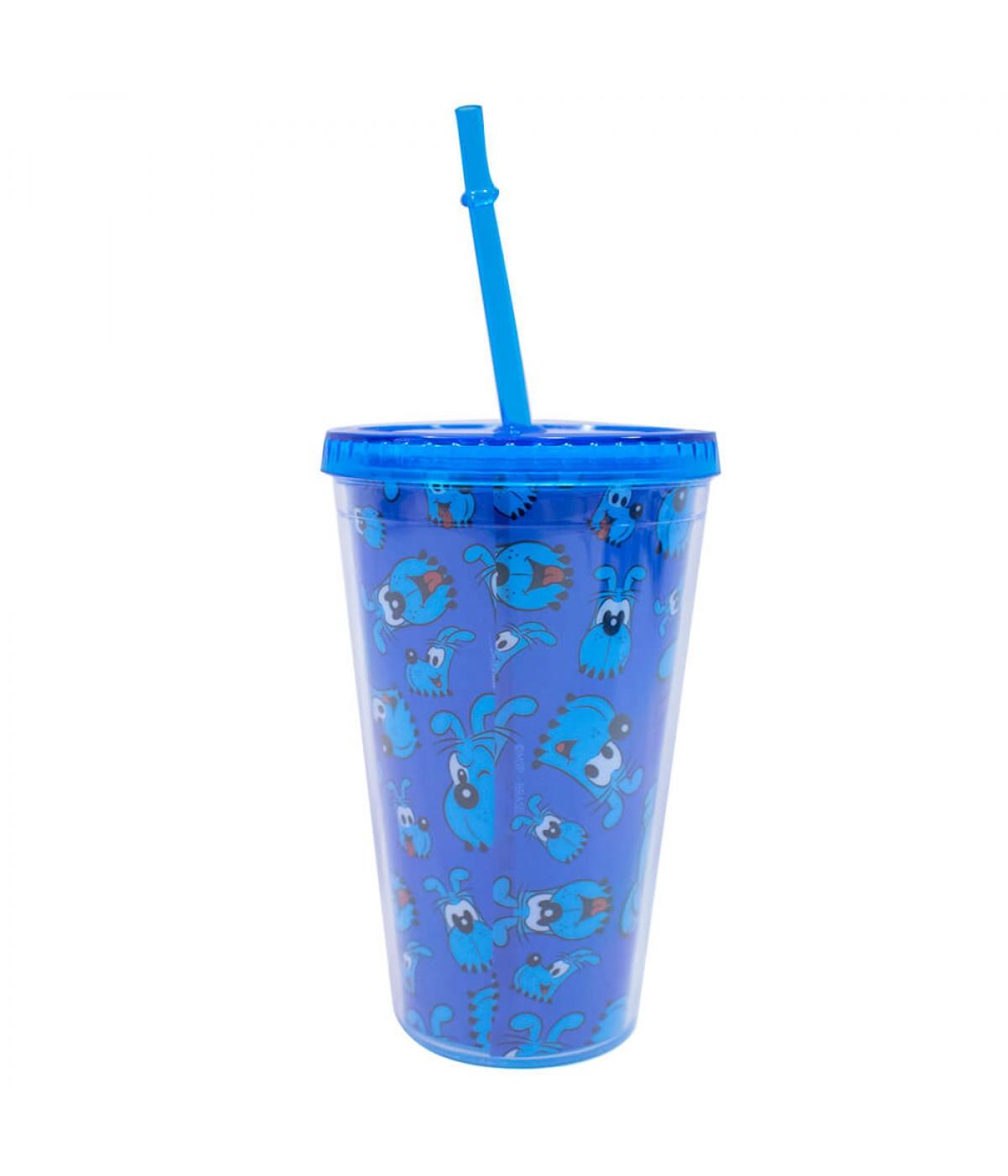 Copo Azul Canudo Bidu 450ml - Turma da Mônica