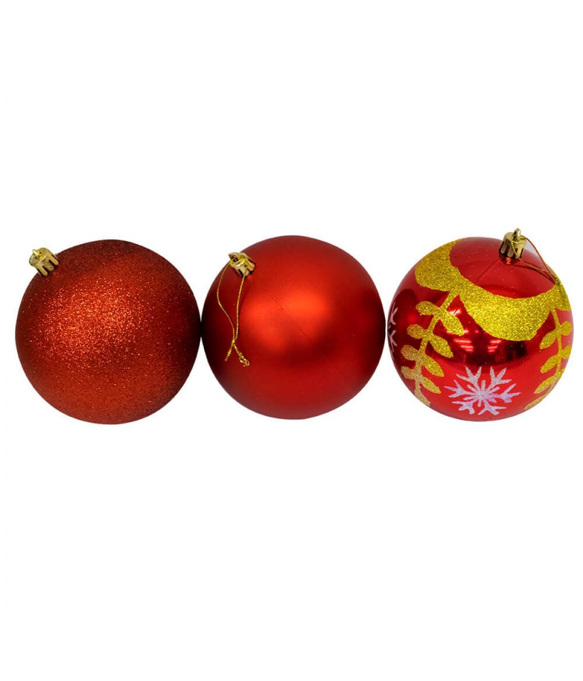 Jogo Com 6 Bolas Natalinas Vermelhas 10cm - Enfeite Natalino