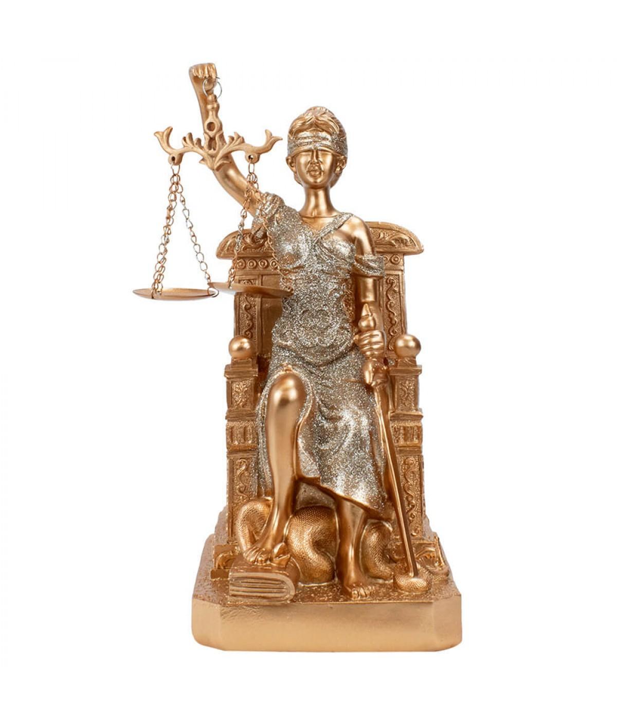 Dama Da Justiça Rosê Sentada 25.5cm - Enfeite Resina