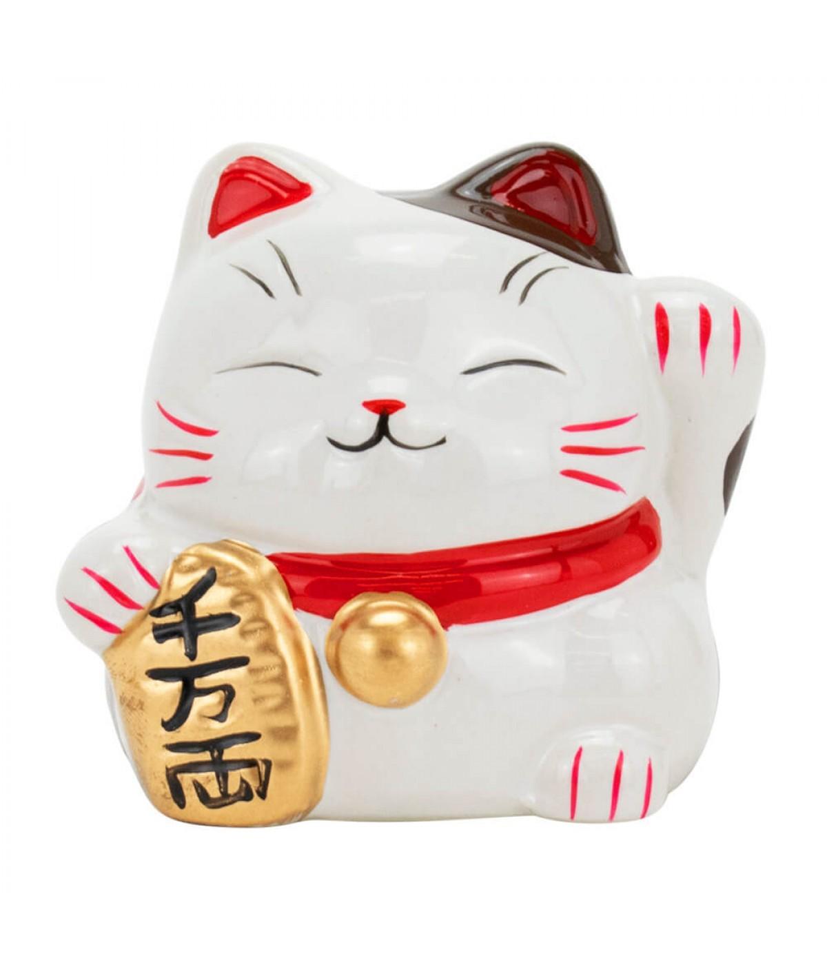 Gato Da Sorte Porcelana Branco 7.5cm