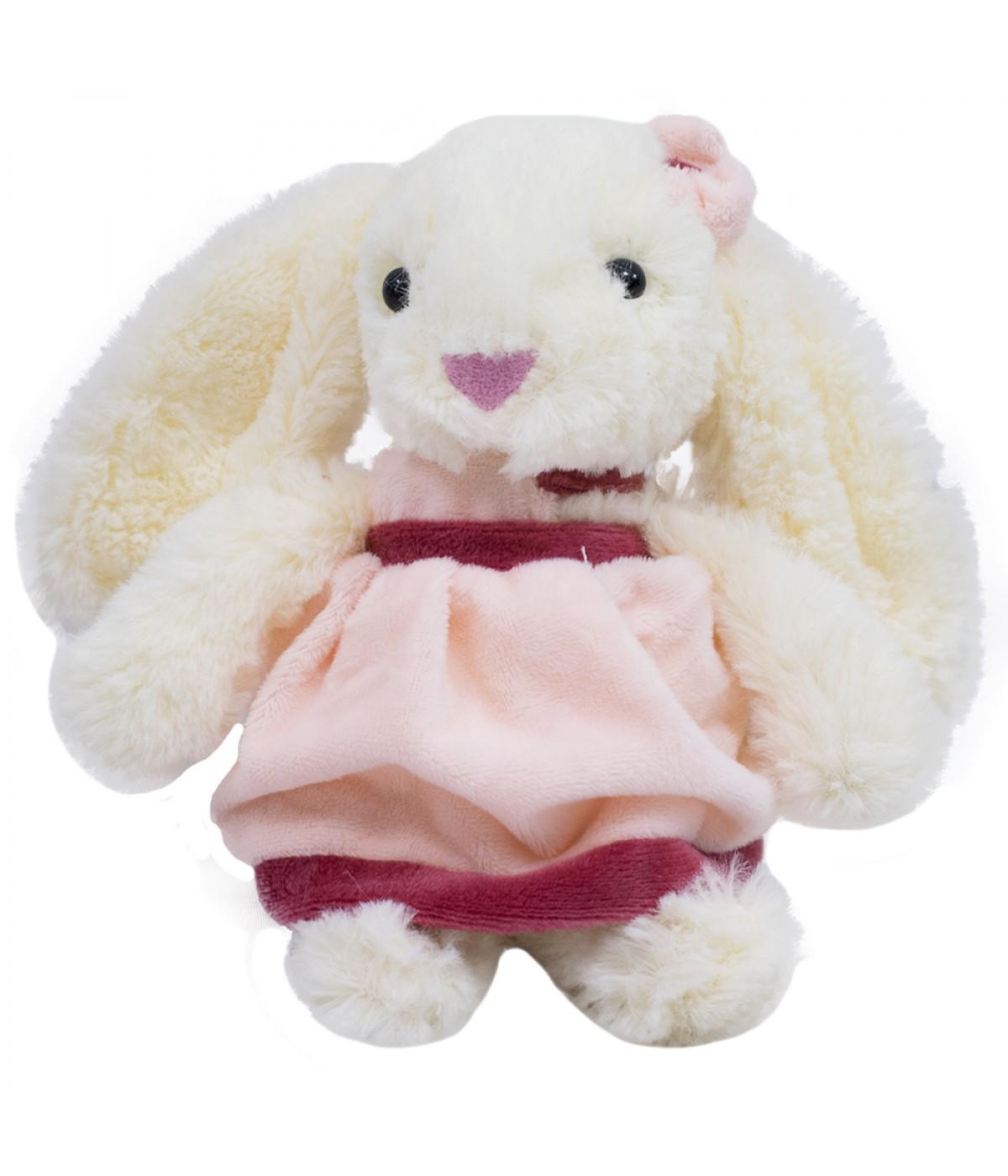 Coelho vestido rosa com laço 16cm - pelúcia