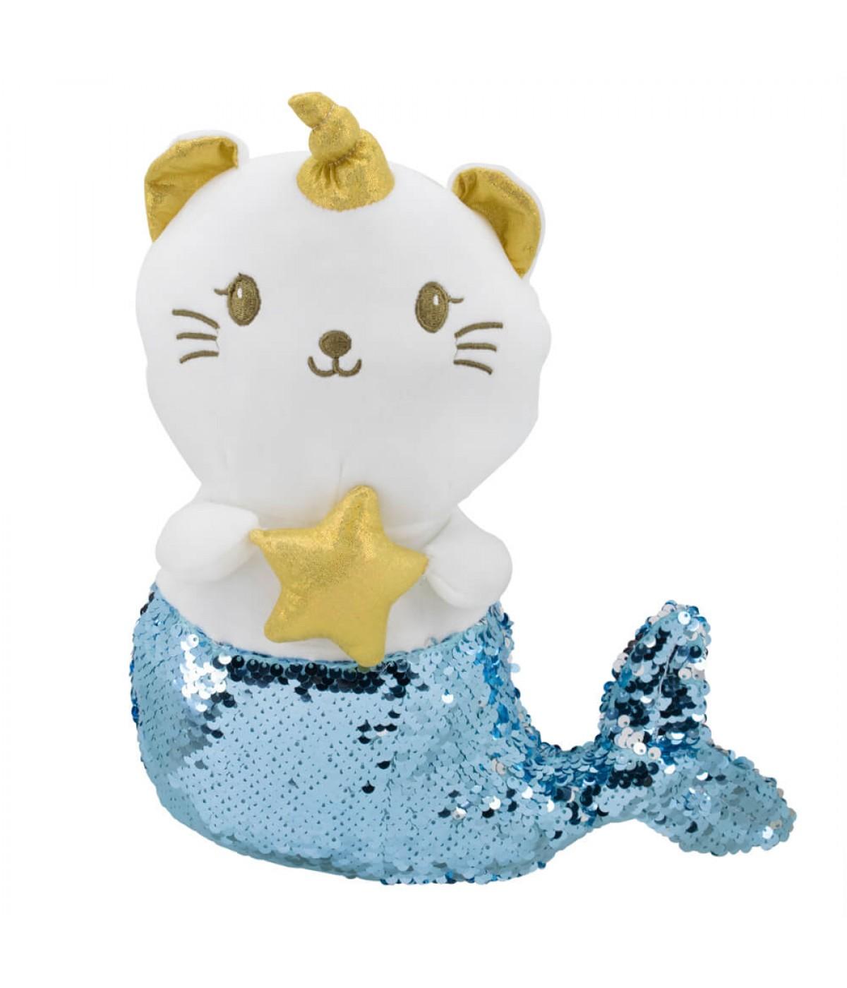 Sereia De Gato Branco Chifre Lantejoulas Azul Prateado 35cm - Pelúcia