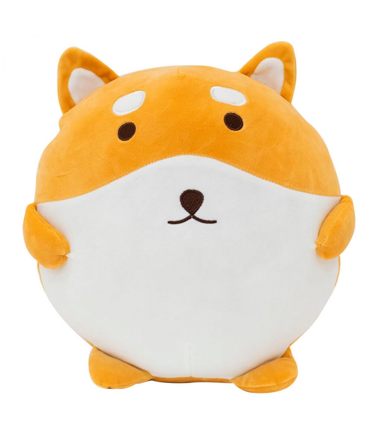 Almofada Semi Bola Formato Cachorro Shiba Pelúcia 30x30cm