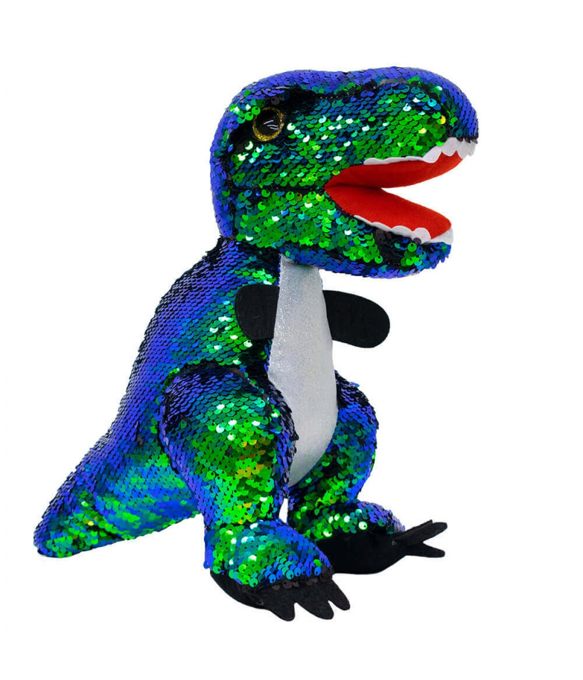 Dinossauro Tiranossauro Rex Lantejoulas 30cm - Pelúcia