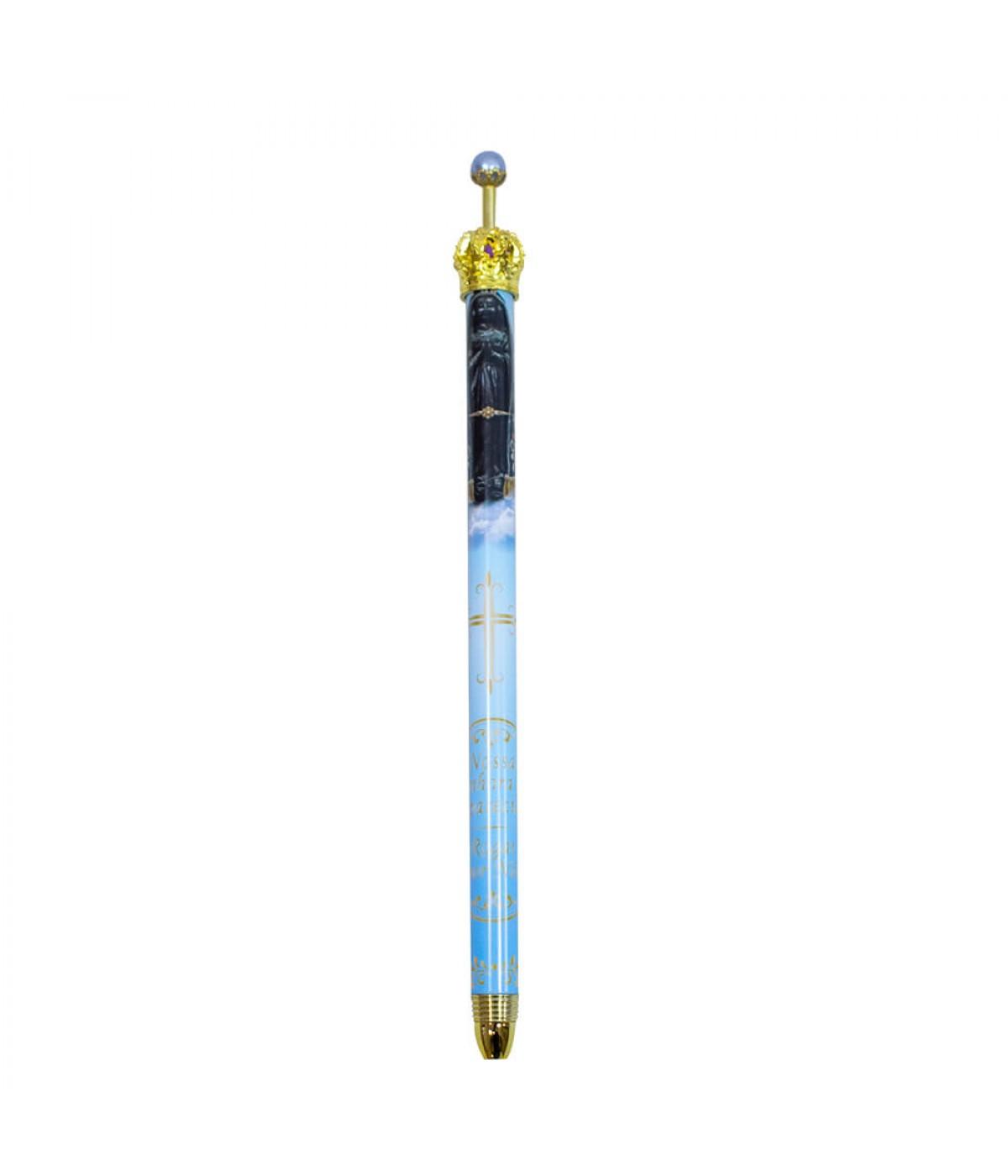 Caneta Azul Claro Metal Rollerball Religiosa Nossa Senhora Aparecida Coroa 0.7mm