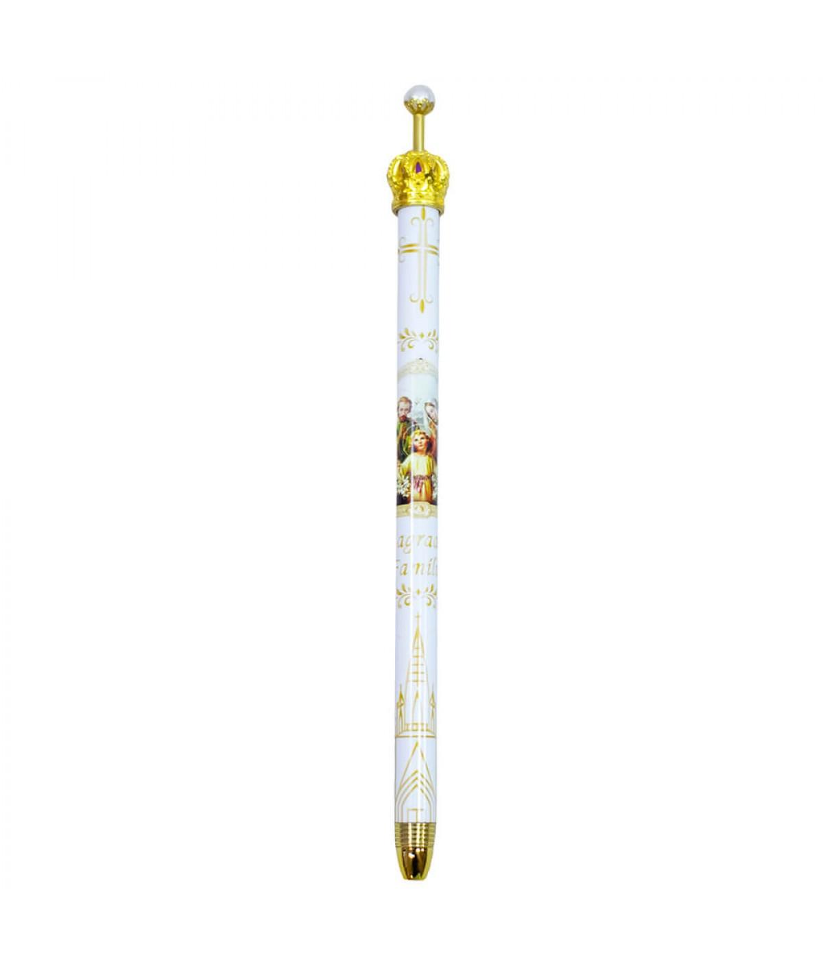 Caneta Branca Metal Rollerball Religiosa Sagrada Família Coroa 0.7mm