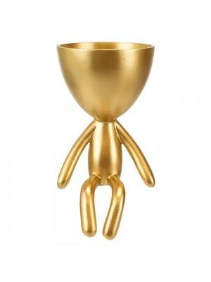 Vaso Dourado Resina Boneco Sentado Borda 18x10x10cm