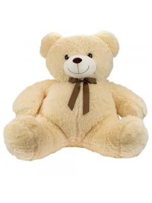 Urso Branco Sentado Laço 75cm - Pelúcia