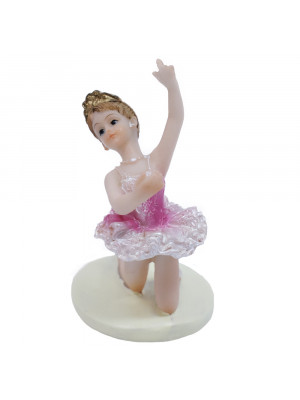 Bailarina Rosa Agachada Braço Esquerdo Levantado 9cm - Enfeite Resina