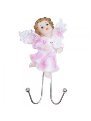 Ganchos Anjinho roupa rosa segurando pomba 14cm - Enfeite resina