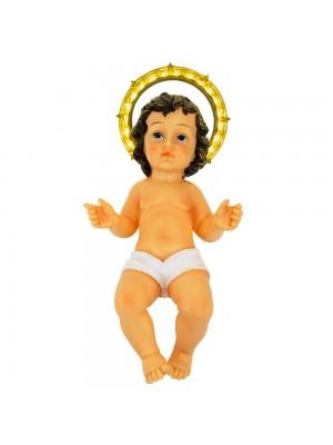 Menino Jesus Coroa Acende 44cm - Enfeite Resina