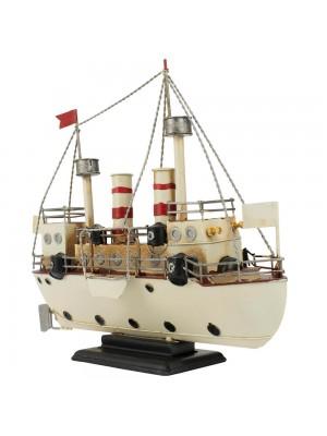 Navio Branco 28x10x33cm Estilo Retrô - Vintage