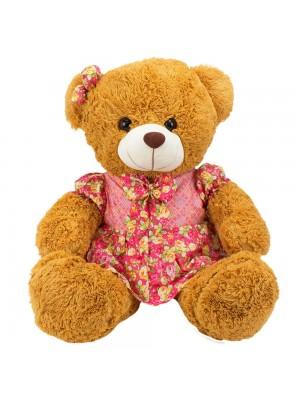 Urso Sentado Marrom Vestido Laço Florido 46cm - Pelúcia