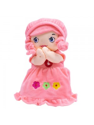 Boneca Vestido Rosa Rezando Pai Nosso 24cm