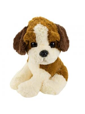 Cachorro Filhote Sentado Marrom Com Branco 37cm - Pelúcia