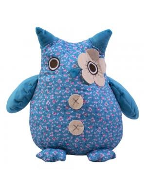 Coruja Azul Olho Enfeite Flor 34cm - Pelúcia Tecido