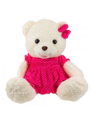 Urso Sentado Branco Vestido Laço Pink 47cm - Pelúcia