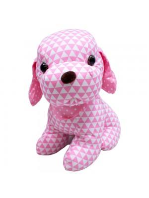 Cachorro Sentado Pano Rosa 29cm - Pelúcia