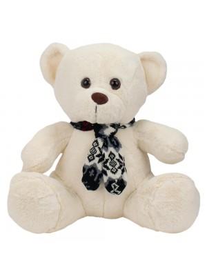 Urso Branco Sentado Cachecol 40cm - Pelúcia