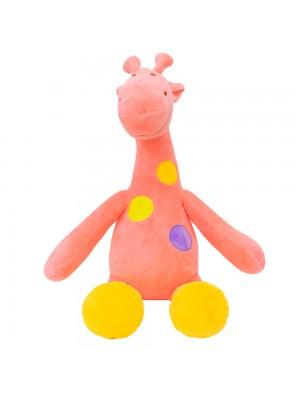 Girafa Rosa Pintas Coloridas 37cm - Pelúcia
