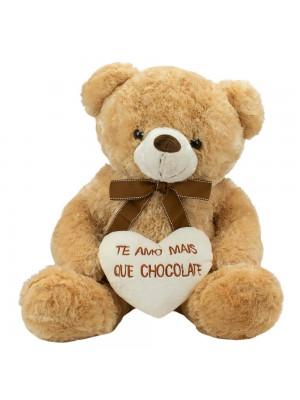Urso Sentado Te Amo Mais Que Chocolate 48cm - Pelúcia