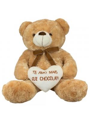 Urso Sentado Te Amo Mais Que Chocolate 56cm - Pelúcia