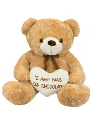 Urso Sentado Te Amo Mais Que Chocolate 72cm - Pelúcia