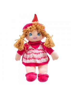 Mochila Boneca Saia Chapéu Rosa Branco 40x30cm