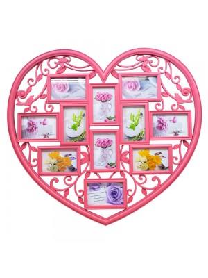 Multi Porta Retrato Coração Rosa 11 fotos 10x15cm