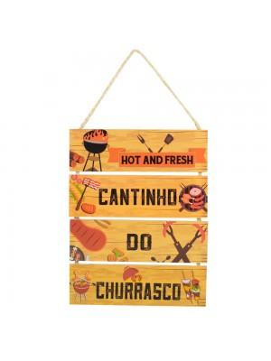 Jogo 4 Placas Decorativas Madeira Cordão 37x29x0,5cm
