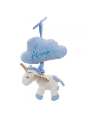 Unicórnio Azul Nuvem Toca Som 27cm - Pelúcia