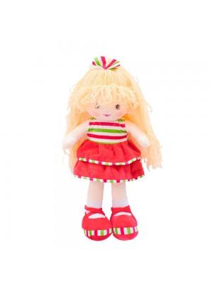 Boneca Laço Cabelo Saia Vermelha 50cm