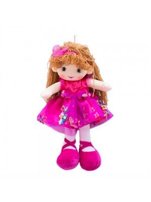 Boneca Vestido Pink Cabelo Castanho Claro Encaracolado 46cm