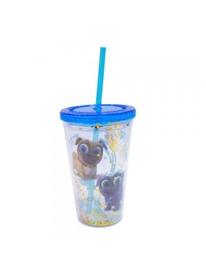 Copo Canudo Azul Puppy Dog Pals 450ml - Disney
