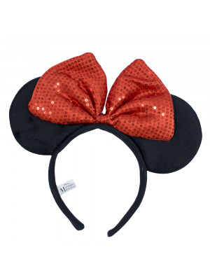 DYD101TR-MK2-D | Tiara Com Orelhas Minnie E Laço Vermelho - Disney