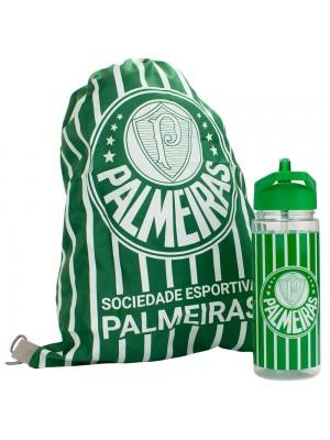 Garrafa Plástico 450ml Com Mochila Tipo saco - Palmeiras