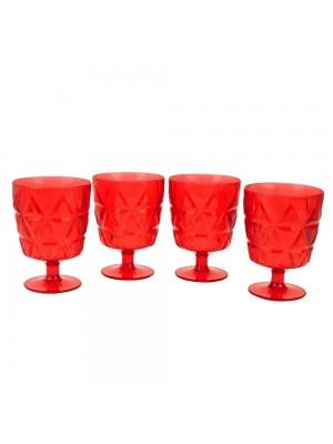 Jogo 4 Taças Vermelhas Acrílico 260ml