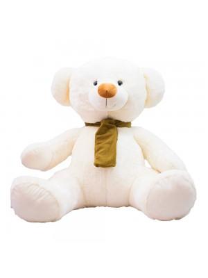 Urso Branco Sentado Cachecol 60cm - Pelúcia